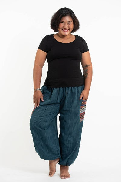 Plus Size Women's Drawstring Pinstripes Cotton Pants with Aztec Pocket in Turquoise