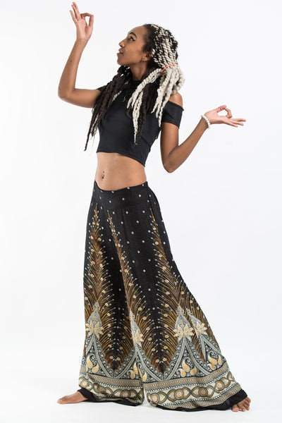 Peacock Feathers Palazzo Style Harem Pants in Black