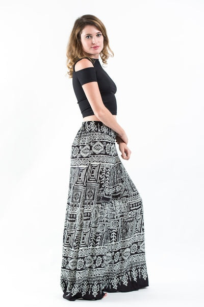 Tribal Prints Palazzo Style Harem Pants in Black