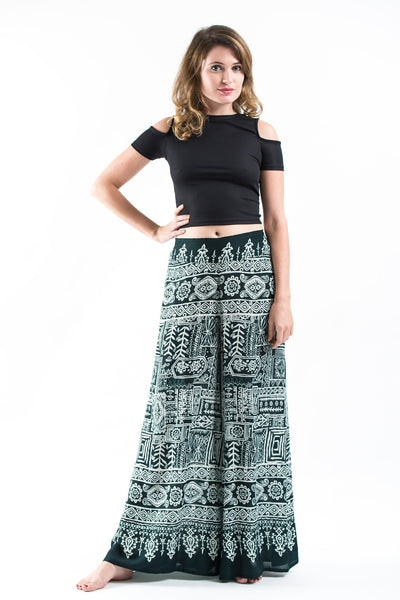 Tribal Prints Palazzo Style Harem Pants in Green