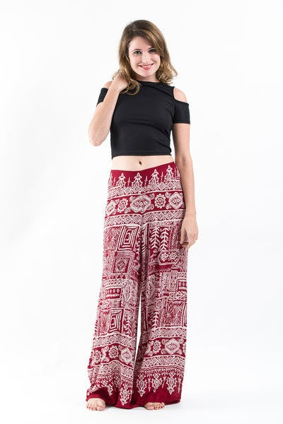 Tribal Prints Palazzo Style Harem Pants in Red
