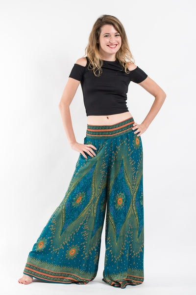 Peacock Eyes Palazzo Style Harem Pants in Turquoise
