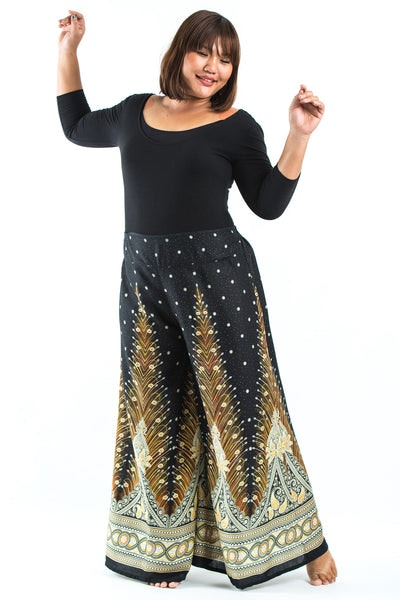 Plus Size Peacock Feathers Palazzo Style Harem Pants in Black