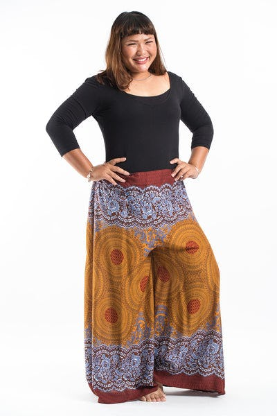 Plus Size Geometric Mandalas Palazzo Style Harem Pants in Bronze