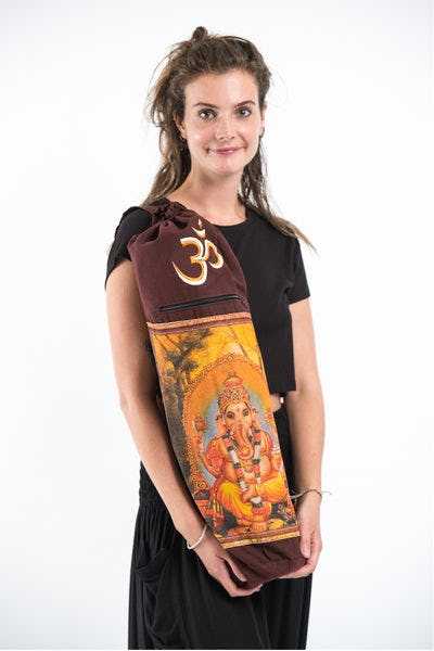Maroon Embroidered Ohm + Ganesha Print Cotton & Hemp Yoga Mat Bag