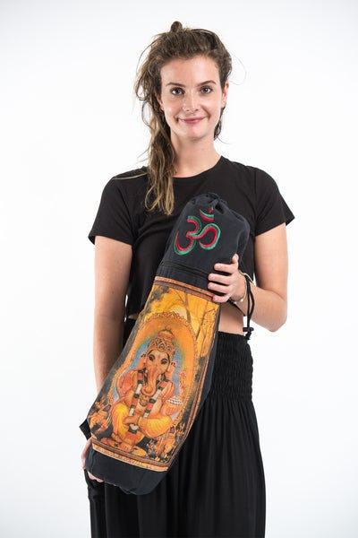 Black Embroidered Ohm + Ganesha Print Cotton & Hemp Yoga Mat Bag