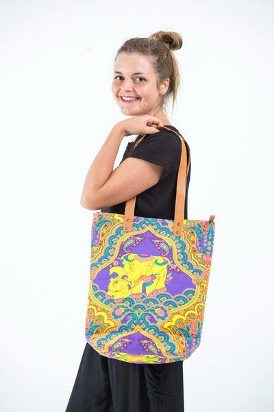Neon Hippie Boho Canvas Tote Bag Purple Elephants