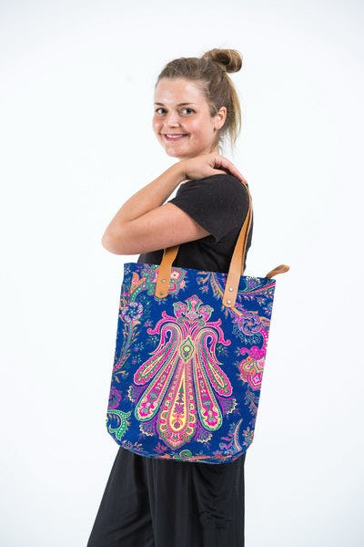 Neon Hippie Boho Canvas Tote Bag Navy Pink