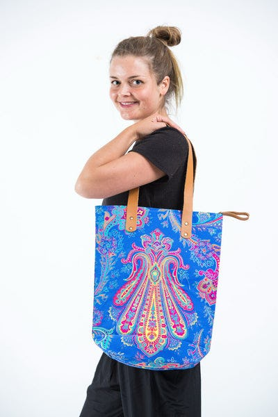 Neon Hippie Boho Canvas Tote Bag Blue Pink