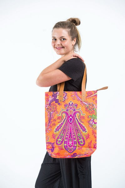 Neon Hippie Boho Canvas Tote Bag Orange Pink