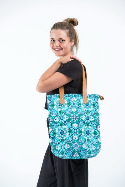 Neon Hippie Boho Canvas Tote Bag Turquoise Flowers