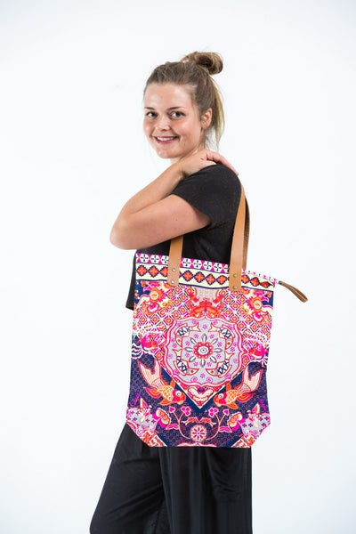 Neon Hippie Boho Canvas Tote Bag Navy Fish
