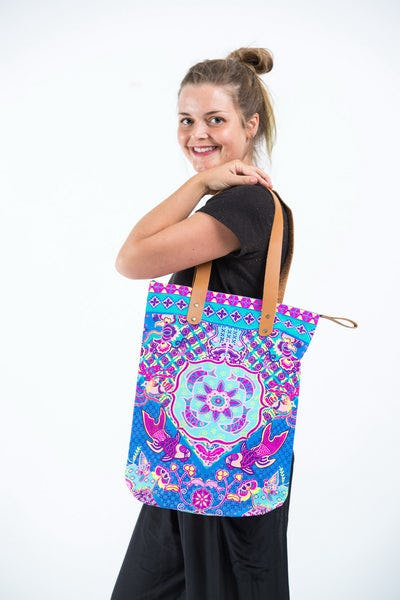 Neon Hippie Boho Canvas Tote Bag Blue Fish