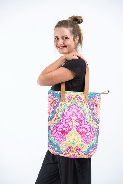 Neon Hippie Boho Canvas Tote Bag Pink