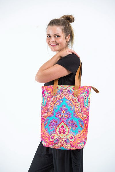 Neon Hippie Boho Canvas Tote Bag Orange