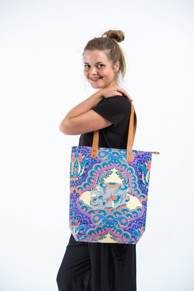 Neon Hippie Boho Canvas Tote Bag Blue Elephants