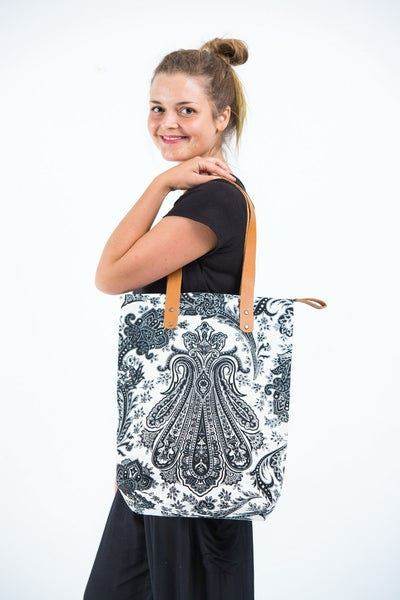 Neon Hippie Boho Canvas Tote Bag White Black