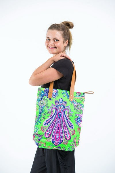 Neon Hippie Boho Canvas Tote Bag Green Pink