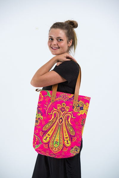 Neon Hippie Boho Canvas Tote Bag Pink Yellow