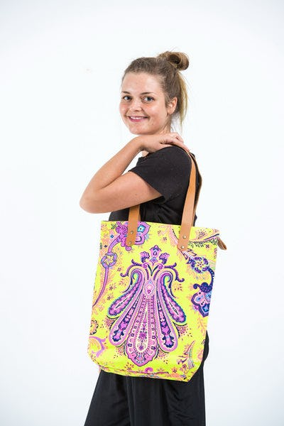 Neon Hippie Boho Canvas Tote Bag Yellow Purple
