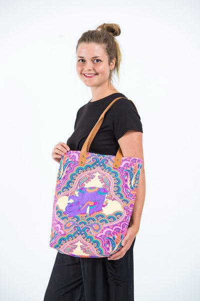 Neon Hippie Boho Canvas Tote Bag Pink Elephants