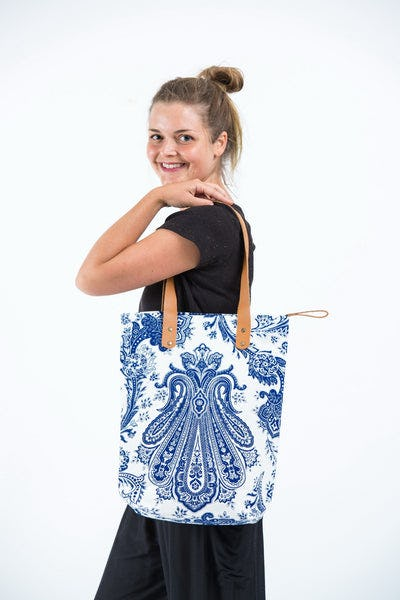 Neon Hippie Boho Canvas Tote Bag White Navy