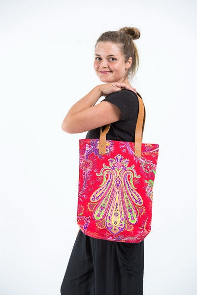 Neon Hippie Boho Canvas Tote Bag Red Yellow