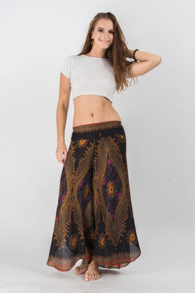 Peacock Eyes Palazzo Style Harem Pants in Floral Black