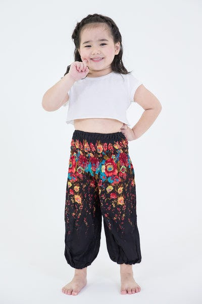 Floral Kids Harem Pants in Black