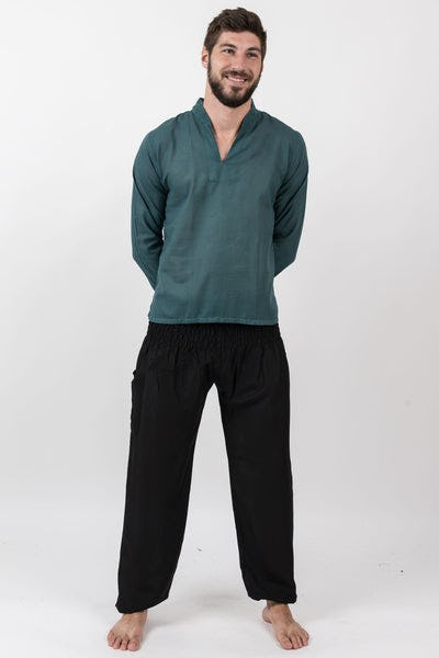 Mens Yoga Shirts Nehru Collared in Dark Teal
