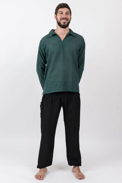 Mens Yoga Shirts Collar V Neck in Dark Teal