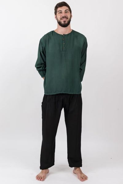 Mens Yoga Shirts No Collar with Coconut Buttons in Dark Teal