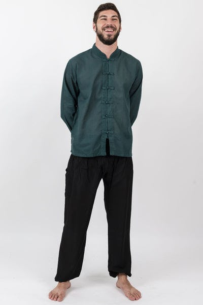 Mens Yoga Shirts Chinese Collared in Dark Teal
