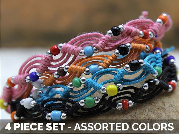 Waxed Cotton Woven Bracelet With Beads 4 Pcs. PACK