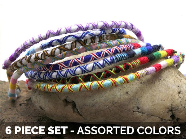 Friendship Round Woven Cotton Bracelet 6 Pcs. PACK