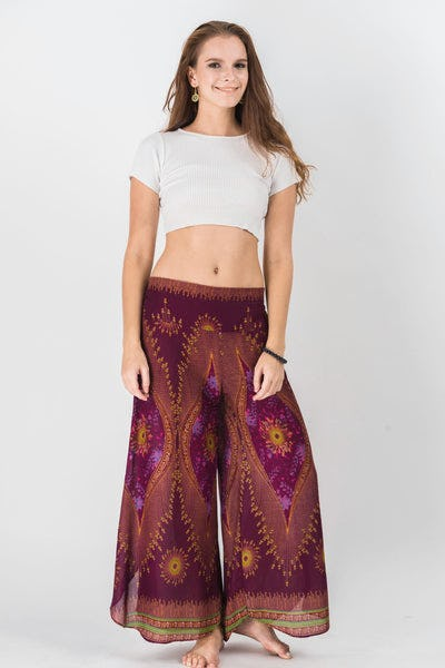 Peacock Eyes Palazzo Style Harem Pants in Wine