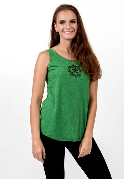 Loose Soft Vintage Style Women's Tank Tops Om Green