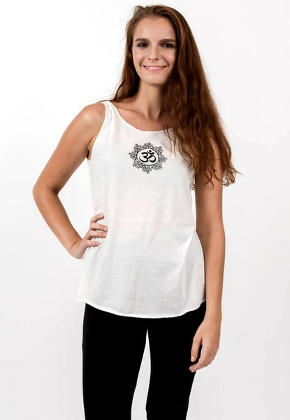 Loose Soft Vintage Style Women's Tank Tops Om White
