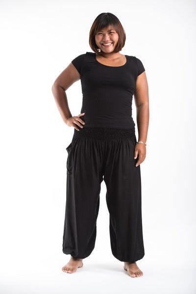 Plus Size Solid Color Women's Harem Pants in Black
