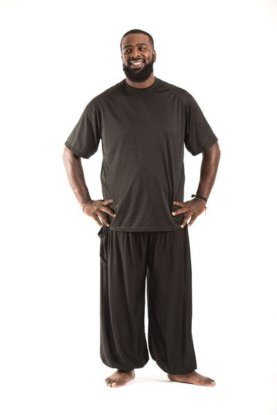 Plus Size Solid Color Men's Harem Pants in Black