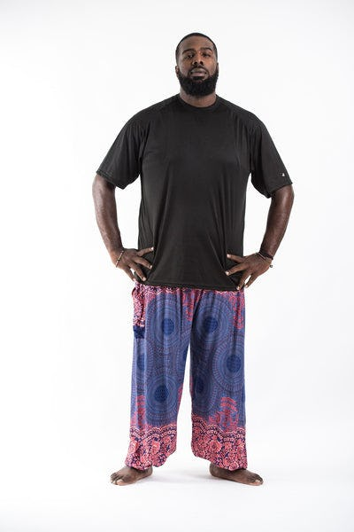 Plus Size Geometric Mandalas Men's Harem Pants in Blue