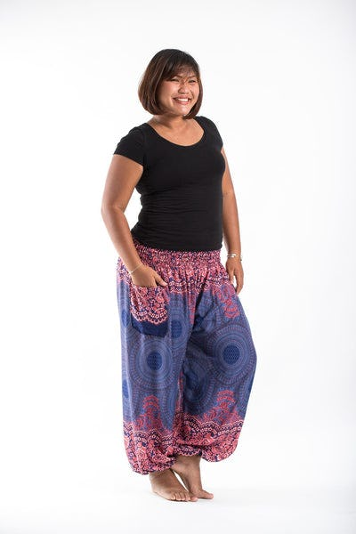 Plus Size Geometric Mandalas Women's Harem Pants in Blue
