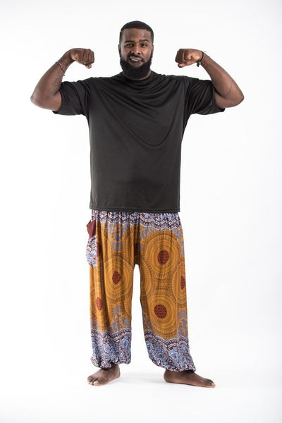 Plus Size Geometric Mandalas Men's Harem Pants in Bronze