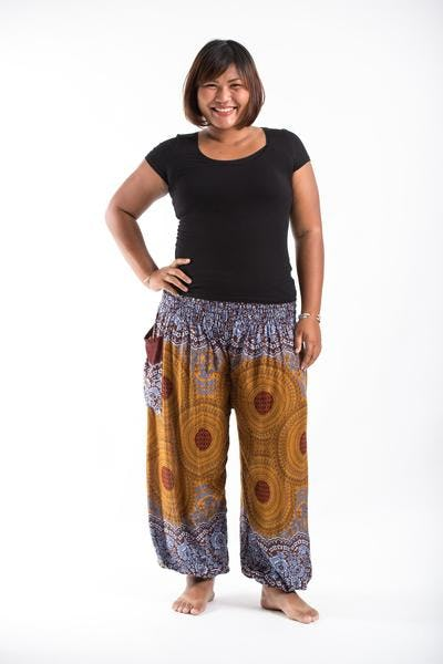 Plus Size Geometric Mandalas Women's Harem Pants in Bronze