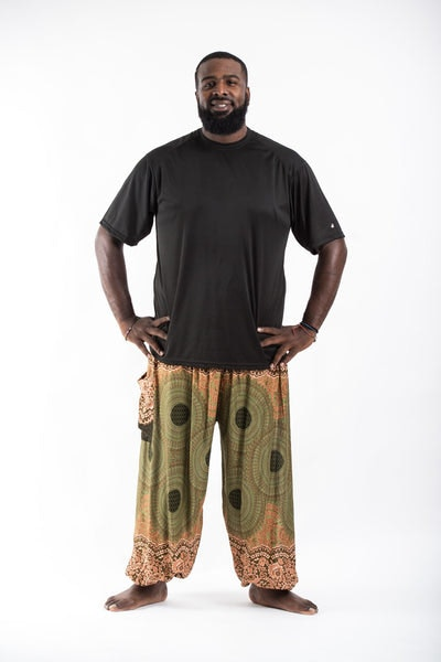Plus Size Geometric Mandalas Men's Harem Pants in Olive