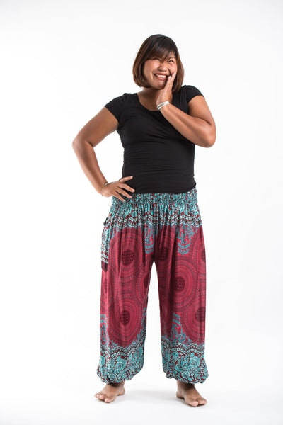Plus Size Geometric Mandalas Women's Harem Pants in Red