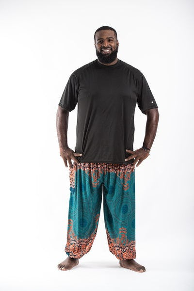 Plus Size Geometric Mandalas Men's Harem Pants in Turquoise