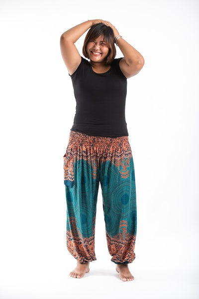 Plus Size Geometric Mandalas Women's Harem Pants in Turquoise