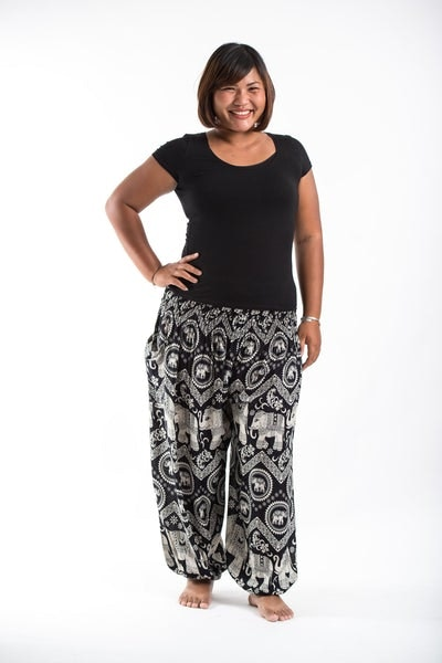 plus size imperial elephant women's harem pants in black