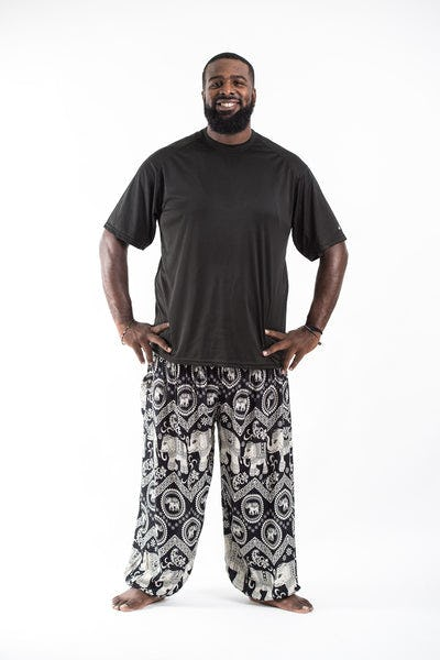 Plus Size Imperial Elephant Men's Harem Pants in Black